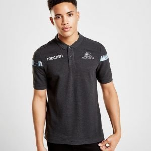 Macron Glasgow Warriors Pique Polo Shirt Musta