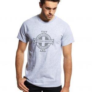 Official Team Northern Ireland Crest T-Shirt Grey Marl