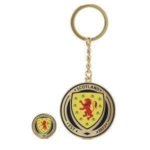Official Team Scotland Fa Keyring And Badge Sininen