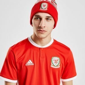 Official Team Wales Text Knitted Bobble Hat Punainen
